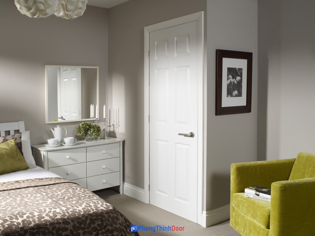 Cửa gỗ HDF sơn trắng đẹp