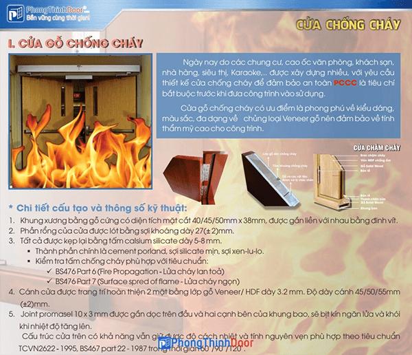 Thông số kỹ thuật cửa gỗ chống cháy